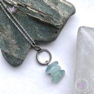 Aquamarine Nugget Chip Silver Hoop Pendant Necklace